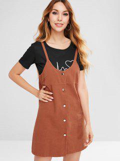 Button Up Straight Dress - Tiger Orange L