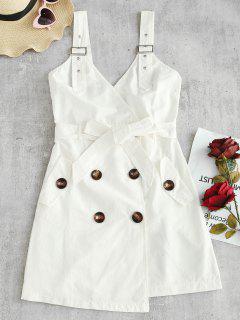 Sleeveless Belted Asymmetric Dress - White M