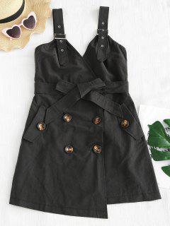 Robe Asymétrique Ceinturée Sans Manches - Noir L