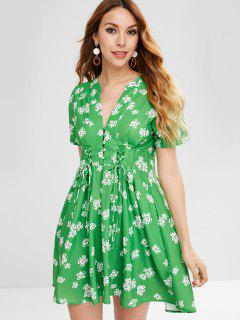 Flower Lace Up Plunging Dress - Yellow Green L