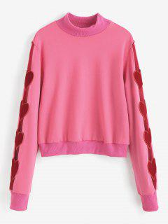 Heart Applique High Neck Sweatshirt - Neon Pink S