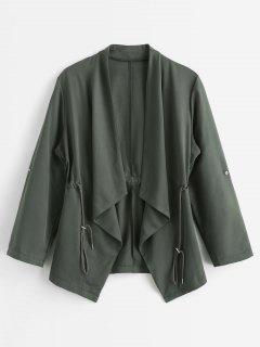 Manteau Trench Drapé Taille à Cordon - Vert Algue L