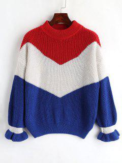 Drop Shoulder Flounce Oversize Sweater - Multi
