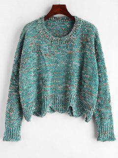 Heathered Scalloped Sweater - Medium Aquamarine