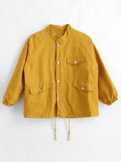 Pockets Drop Shoulder Jacket - Yellow S