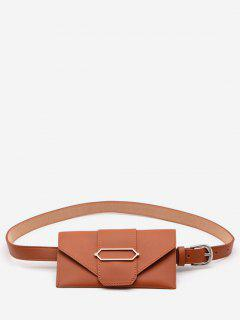 PU Leather Geometric Metal Waist Bag - Sandy Brown