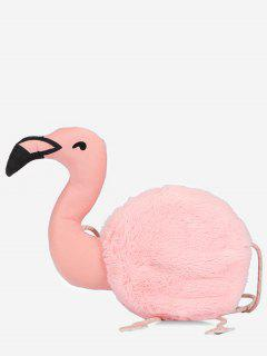 Faux Fur Flamingo Shape Crossbody Bag - Light Pink