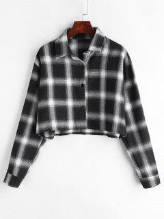 Color Block Plaid Short Shirt - Multi L