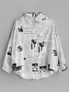 High Low Drop Shoulder Oversize Shirt - Multi
