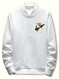 Letter Panda Printed Casual Sweatshirt - White Xs