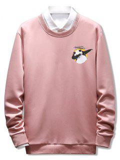 Letter Panda Printed Casual Sweatshirt - Orange Pink Xs