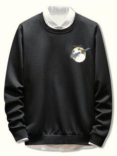 Letter Panda Printed Casual Sweatshirt - Black L