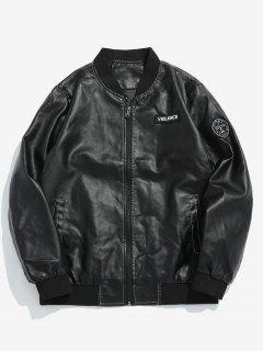 PU Leather Applique Bomber Jacket - Black S