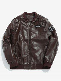 PU Leather Applique Bomber Jacket - Coffee L