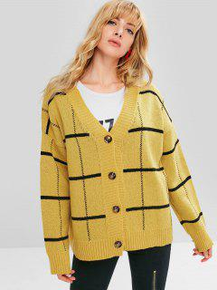 Stripe Loose Fit Button Front Cardigan - Yellow
