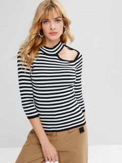 Cut Out Striped Sweater - Black