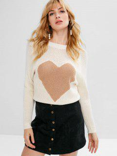 Raglan Sleeve Heart Sweater - Warm White