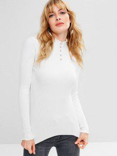 Faux Pearls Ribbed Sweater - White