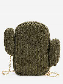 Cactus Metal Chain Shoulder Bag - Dark Forest Green