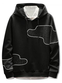 Irregular Patch Casual Pullover Hoodie - Black M