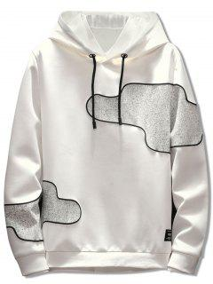Irregular Patch Casual Pullover Hoodie - White L