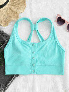 ZAFUL T Straps Button Up Tank Top - Light Aquamarine S