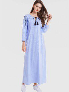 Embroidered Stripes Casual Maxi Dress - Sky Blue M