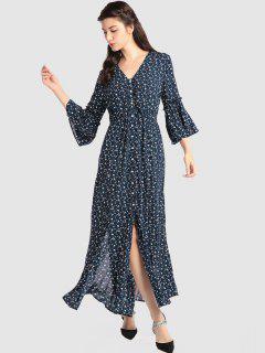 Slit Tiny Floral Maxi Dress - Midnight Blue M