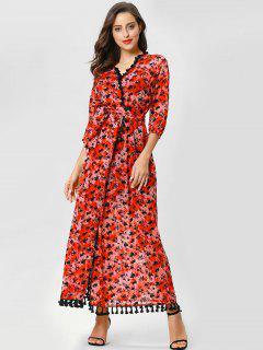 Robe Enveloppée Florale Frangée - Rouge M
