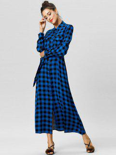 Belted Plaid Maxi Shirt Dress - Deep Blue Xl