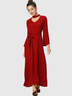Flare Sleeve Plaid Choker Maxi Dress - Lava Red M