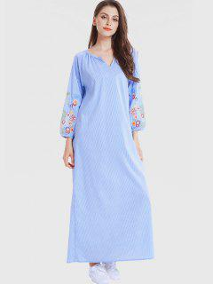 Belted Stripes Embroidered Maxi Dress - Sky Blue M