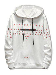 Letter Embroidery Casual Drawstring Hoodie - White L