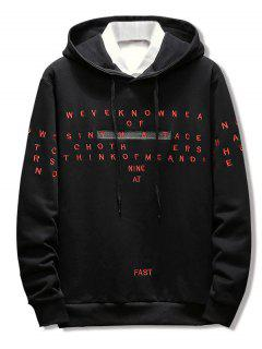 Letter Embroidery Casual Drawstring Hoodie - Black L