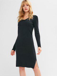 Slit Long Sleeve Sweater Dress - Black M