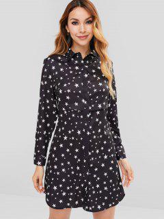 Star Print Mini Shirt Dress - Black S