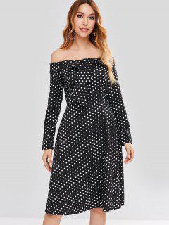 Off Shoulder Knotted Polka Dot Dress - Black S