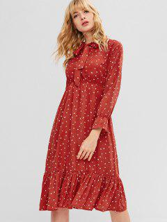 Heart Ruffles Bow Tie Dress - Chestnut Red M