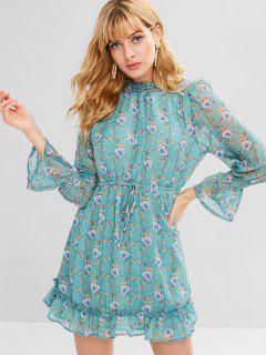 Bell Sleeves Ruffles Floral Dress - Light Sea Green M