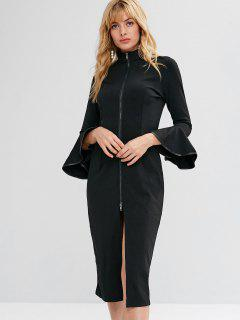 Slit Zip Up Flare Sleeve Dress - Black L