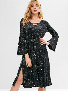 Slit Star Velvet Flare Sleeve Dress - Black L