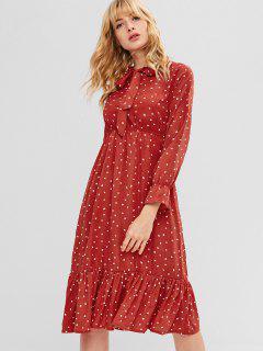 Heart Ruffles Bow Tie Dress - Chestnut Red Xl