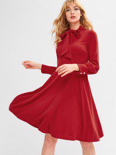 Back Zipper Bow Tie Long Sleeve Dress - Lava Red L
