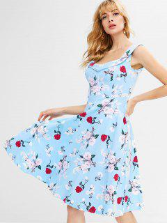 Floral A Line Knee Length Dress - Light Sky Blue L