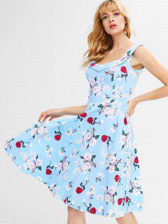 Floral A-Linie Knielanges Kleid - Helles Himmelblau S