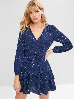 Polka Dot Ruffles Mini Dress - Cadetblue S