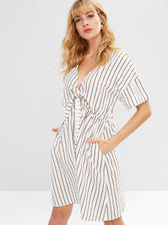 Knotted Stripes Button Up Casual Dress - White Xl