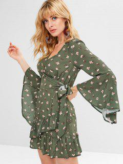 Flower Ruffle Surplice Dress - Fern Green M