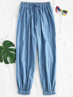 Pantalones Jogger Chambray Con Cordones - Azul Denim M