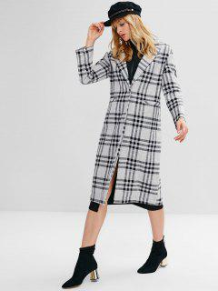 One Button Plaid Lapel Coat - Black L